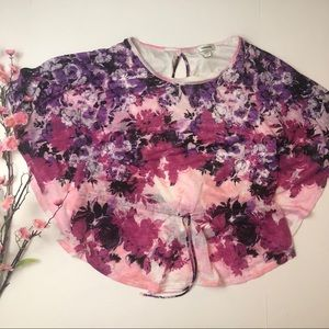 Size 14-16 Dress barn pink floral batwing blouse